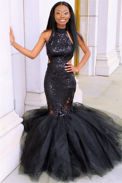 Latest Halter Appliques Mermaid Prom Dress_1