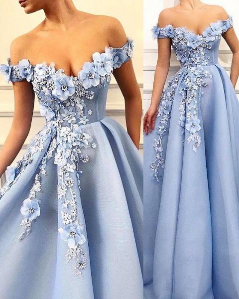 Beautiful Off-the-shoulder Appliques A-line Prom Dress_1
