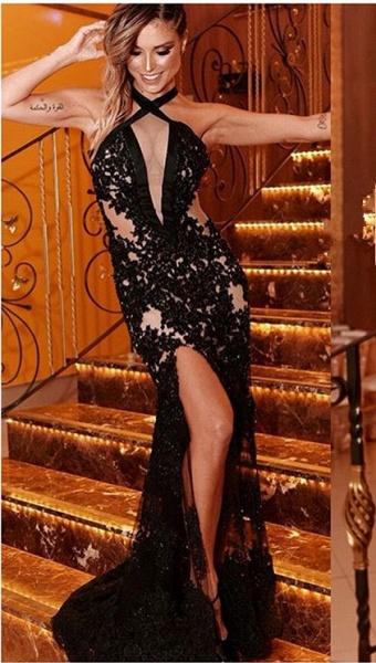 Elegant Halter Appliques Mermaid Prom Dress_1