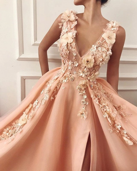 Graceful V-neck Split Appliques A-line Prom Dress_2