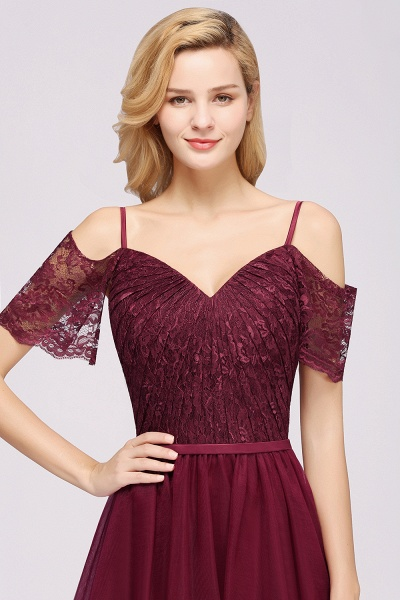 A-Line Chiffon Lace Sweetheart Spaghetti Straps Short-Sleeves Floor-Length Bridesmaid Dresses with Ruffles_4