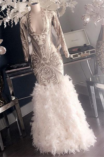 Fabulous V-neck Appliques Mermaid Prom Dress_2