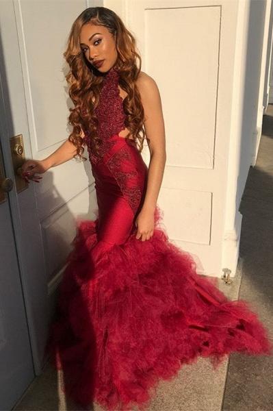 Marvelous Halter Tulle Mermaid Prom Dress_1