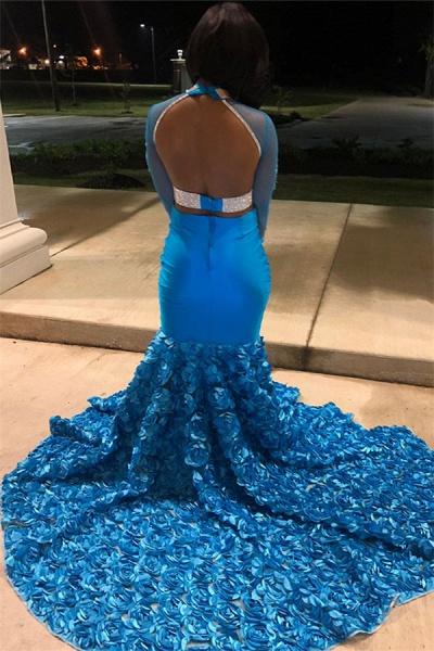 Excellent High Neck Flower(s) Mermaid Prom Dress_2