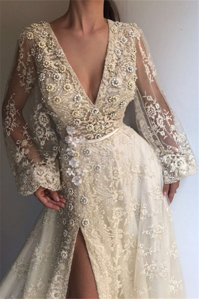 Excellent V-neck Appliques A-line Prom Dress_2