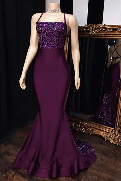 Chic Spaghetti Straps Appliques Mermaid Prom Dress_1