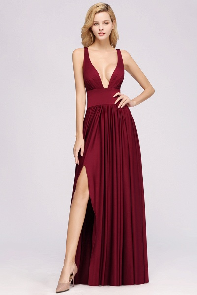 BM0141 A-Line V-Neck Sleeveless Long Ruffles Bridesmaid Dress