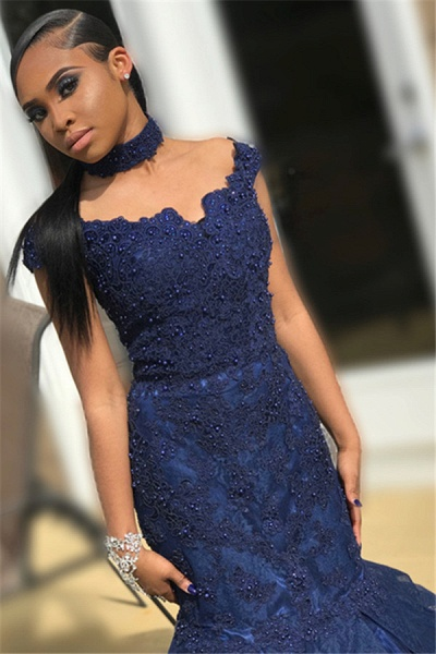 Beautiful Off-the-shoulder Lace Mermaid Prom Dress_2