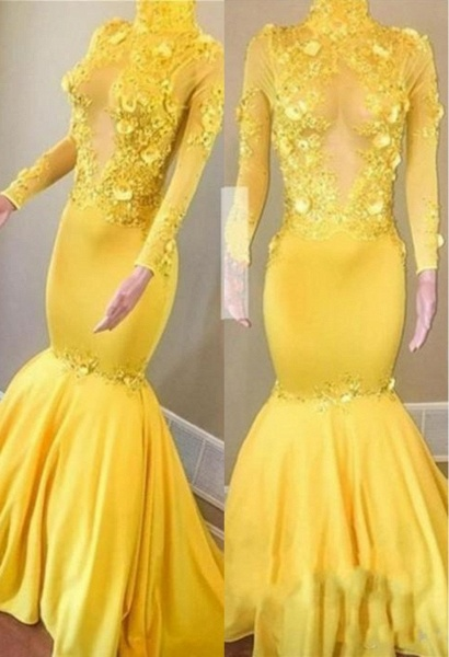 Yellow High Neck Flower Appliques Mermaid Long Sleeves Prom Dresses_1