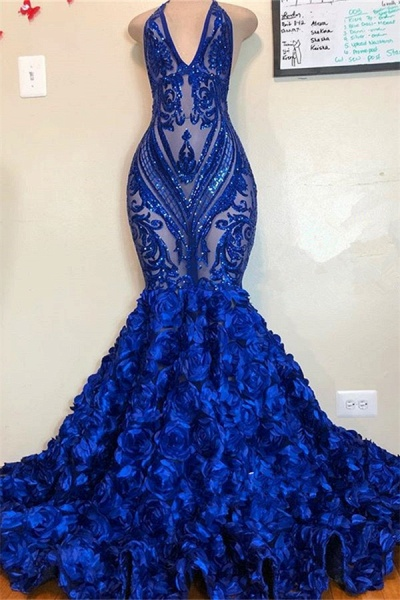 V-neck Halter Sequins Pattern Floral Sweep Train Prom Dresses_1