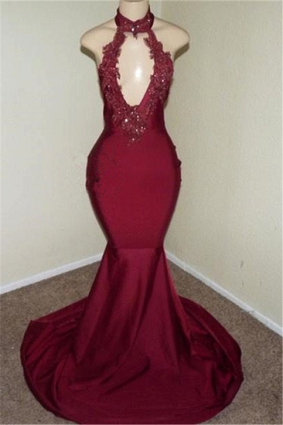 Best Halter Appliques Mermaid Prom Dress_1