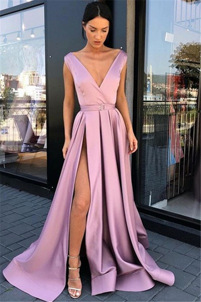 Marvelous V-neck Split Front A-line Prom Dress_1