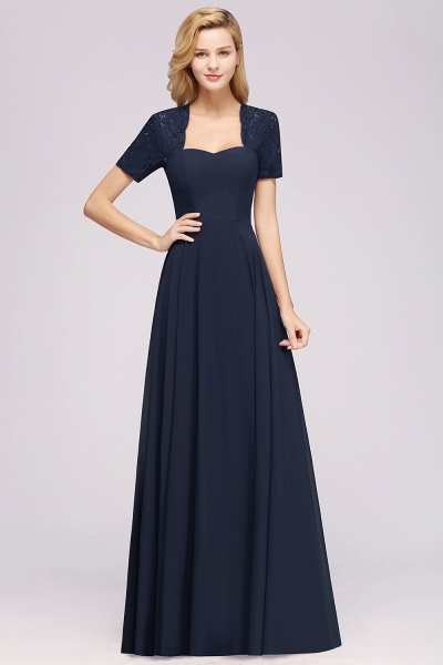 A-Line Chiffon Square Short Sleeves Bridesmaid Dress with Ruffle_19