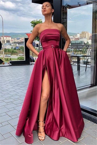 Affordable Strapless Ribbons A-line Prom Dress_1