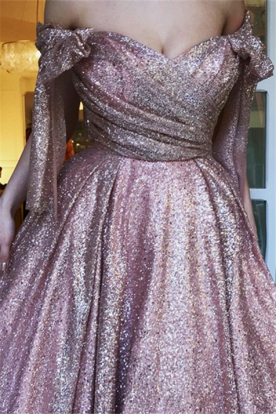 Fascinating Off-the-shoulder Sequined A-line Evening Dress_2