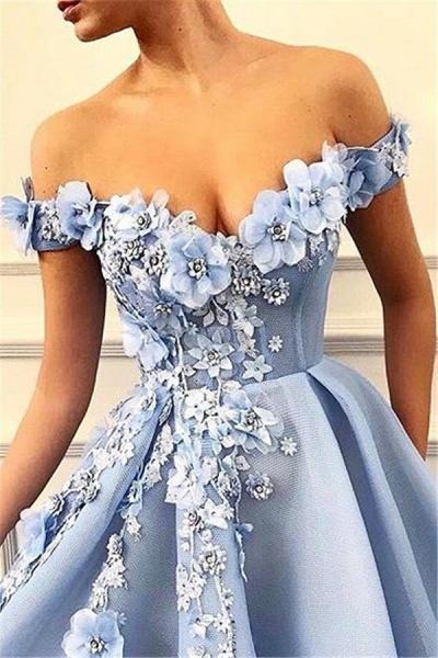 Beautiful Off-the-shoulder Appliques A-line Prom Dress_2