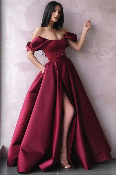Marvelous Off-the-shoulder Ribbons A-line Prom Dress_1