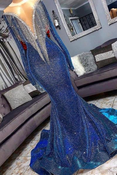 Luxurious Sequins Long Sleeves Mermaid Sheer Neckline Prom Dresses_3