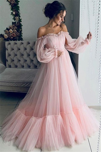 Best Off-the-shoulder Ruffles A-line Prom Dress_2