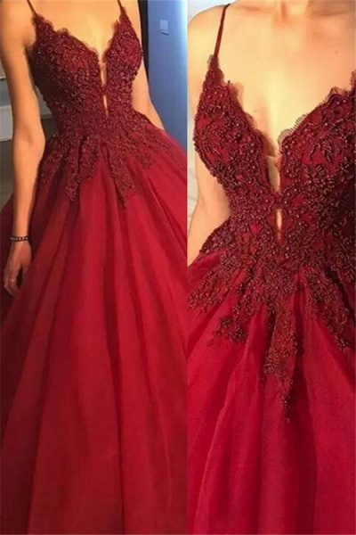 Precious Spaghetti Straps Beading Ball Gown Prom Dress_1