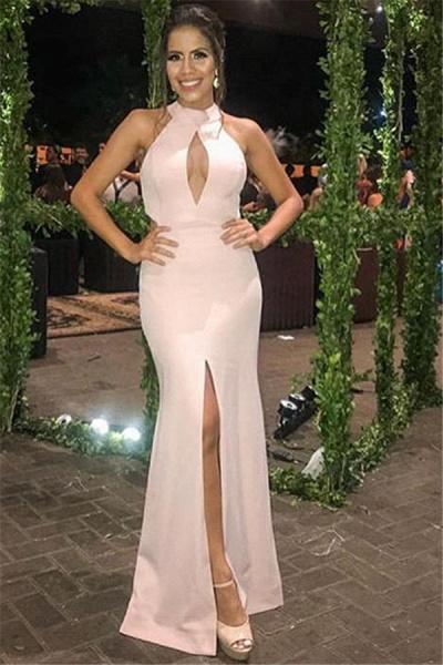 Marvelous Halter Split Front Mermaid Prom Dress_1