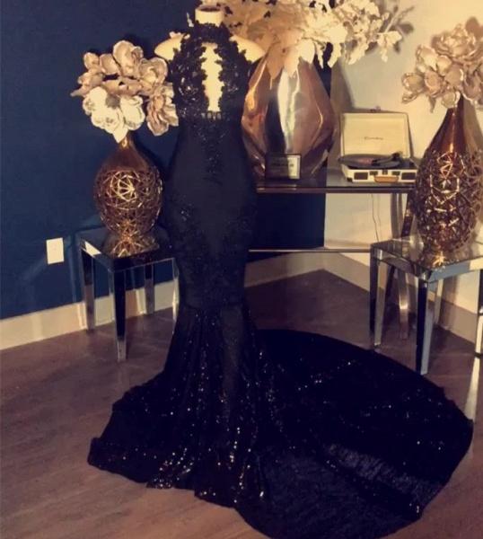 Black Appliques High-Neck Sleeveless Long Mermaid Prom Dress_2