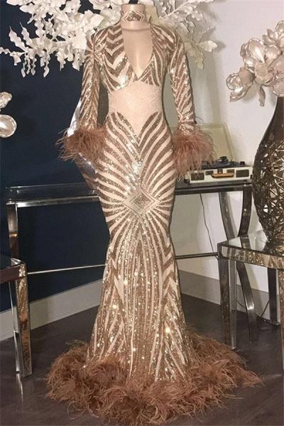 Sleek High Neck Sequined Mermaid Prom Dress_1