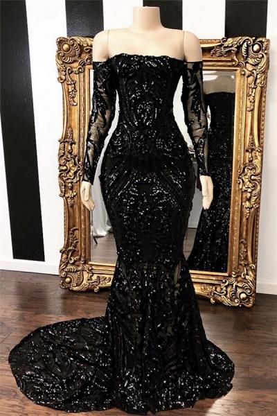 Off-the-shoulder Long Sleeves Mermaid Sweep Train Prom Dresses_1
