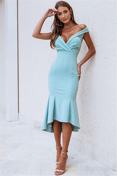 Wonderful Off-the-shoulder Ruffles Mermaid Prom Dress_1