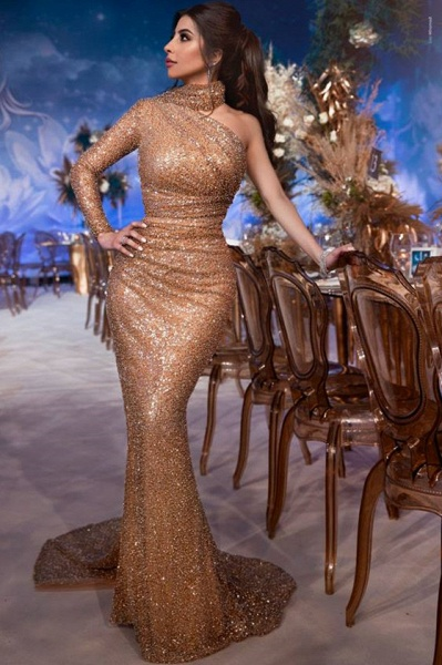 Latest High Neck Sequined Mermaid Prom Dress_1