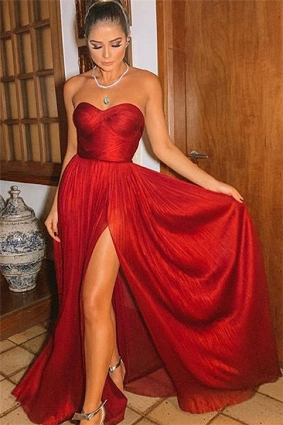 Latest Strapless Split Front A-line Prom Dress_1