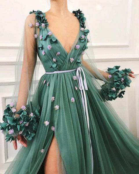 Best V-neck Flower(s) A-line Prom Dress_2