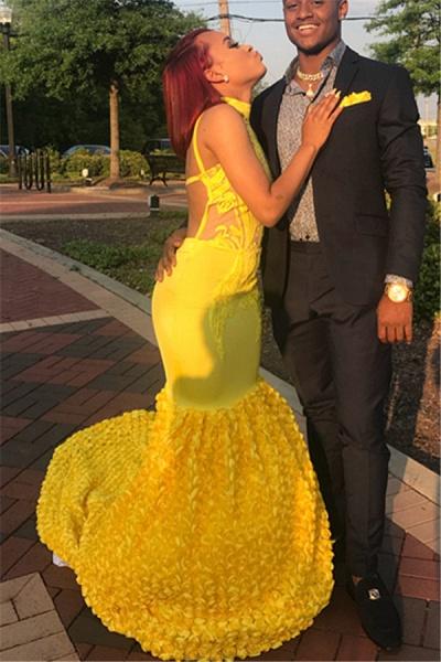 Best High Neck Appliques Mermaid Prom Dress_2