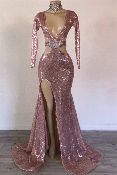 Modest V-neck Sequined Mermaid Prom Dress_1