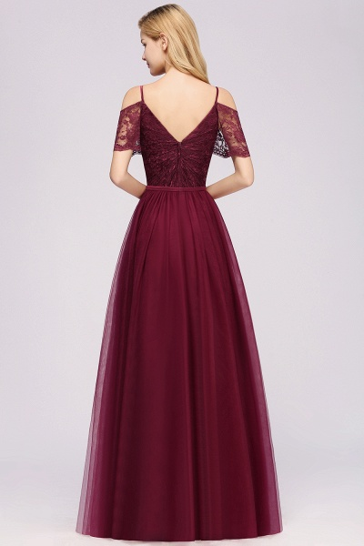A-Line Chiffon Lace Sweetheart Spaghetti Straps Short-Sleeves Floor-Length Bridesmaid Dresses with Ruffles_2