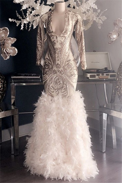 Fabulous V-neck Appliques Mermaid Prom Dress_1