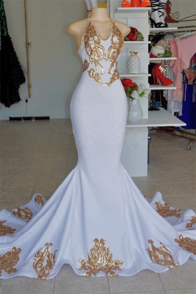 Attractive Halter Appliques Mermaid Prom Dress_1