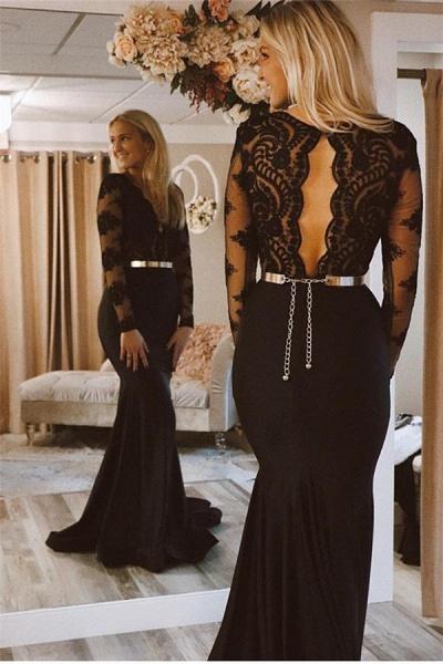 Modest V-neck Appliques Mermaid Prom Dress_2