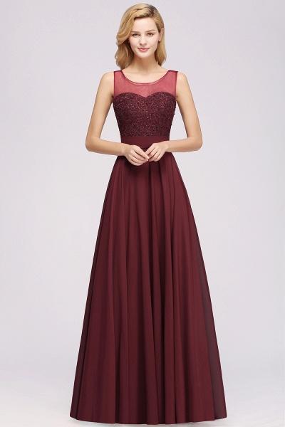 A-Line Chiffon Tulle Lace Beadings Jewel Sleeveless Floor-Length Bridesmaid Dresses with Sash_1