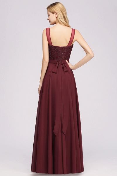 A-Line Chiffon Tulle Lace Beadings Jewel Sleeveless Floor-Length Bridesmaid Dresses with Sash_2