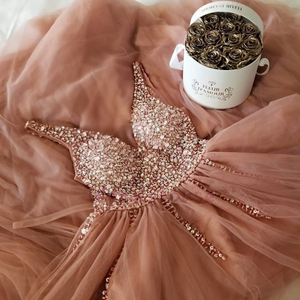 Chic Straps Sequined A-line Prom Dress_3