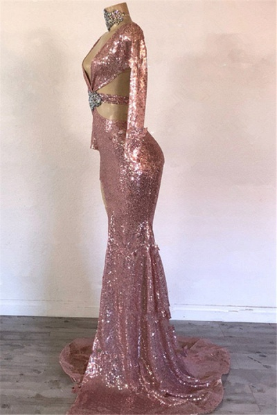 Modest V-neck Sequined Mermaid Prom Dress_2
