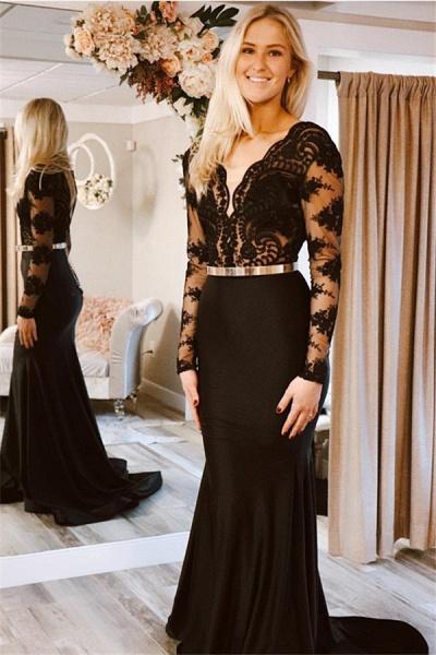 Modest V-neck Appliques Mermaid Prom Dress_1