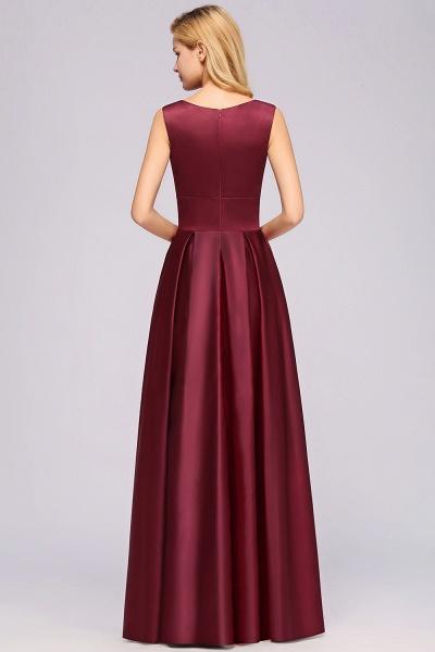 A-line Satin Deep-V-Neck Sleeveless Ruffles Floor-length Bridesmaid Dress_2