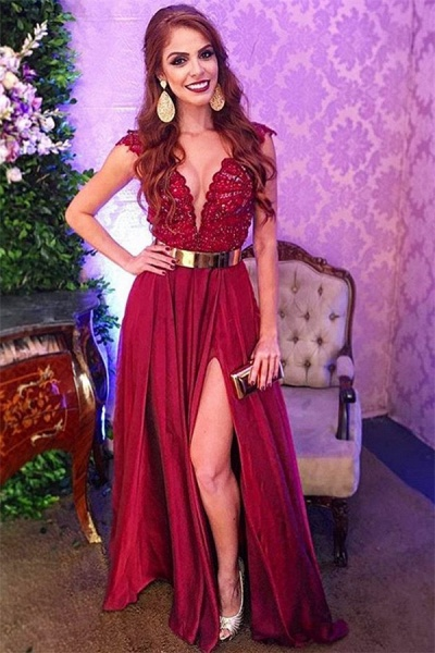 Sleek Straps Split Front A-line Prom Dress_1