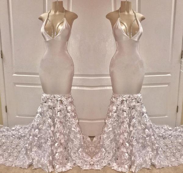 Gorgeous Halter Deep V-Neck Flower Mermaid Prom Dress_2