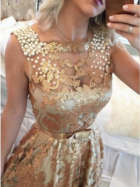 Precious Jewel Appliques A-line Prom Dress_2