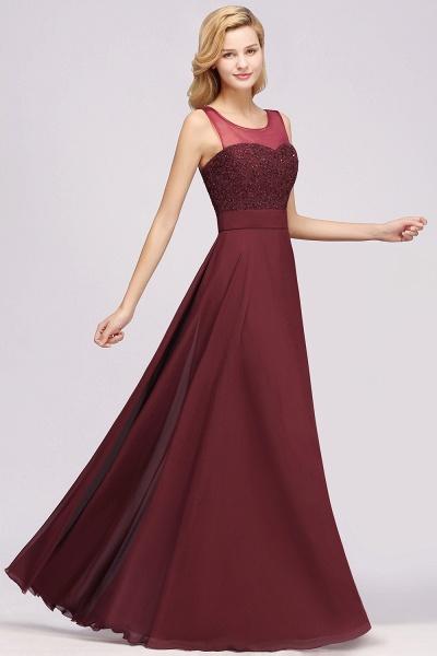 A-Line Chiffon Tulle Lace Beadings Jewel Sleeveless Floor-Length Bridesmaid Dresses with Sash_3