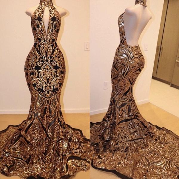 Halter Keyhole Neckline Sequins Appliqued Mermaid Prom Dresses_2