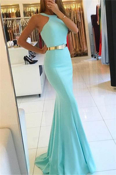 Graceful Halter Ribbons Mermaid Prom Dress_3